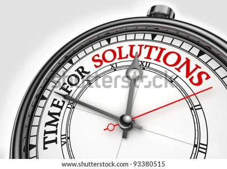 time for solutions concept clock closeup on white background with red and black words