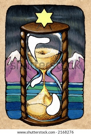 Time, from my Tarot of the Roses, one of the Major Arcana