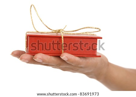 Time gifts - red gift box in hand girls on white background