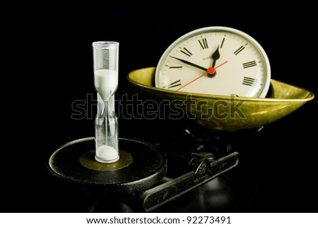 Time, hourglass and clock on scales