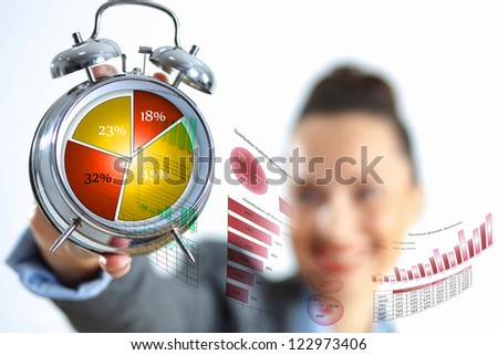 Time in business illustration with clock in hands of businesswoman