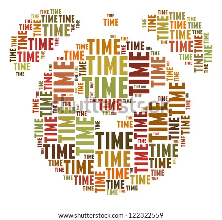Time in word collage composed in colck shape