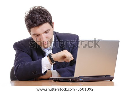 Time is money-Businessman checking the time - stock photo