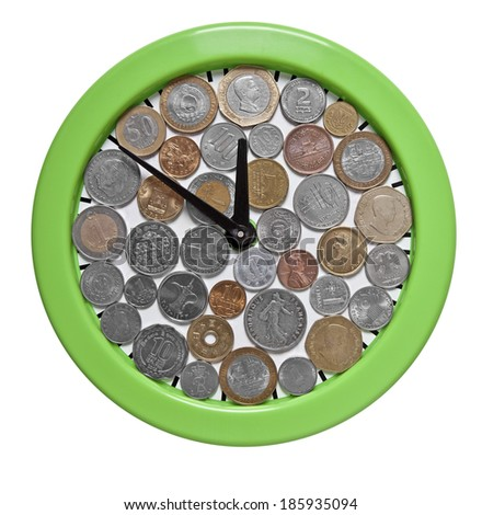 Time is money. Clock dials from coins of different countries.