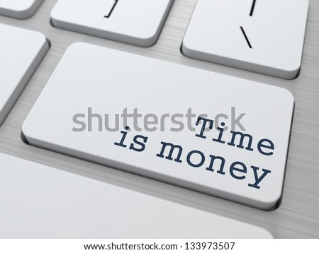 Time is Money Concept. Button on Modern Computer Keyboard with Word Partners on It.