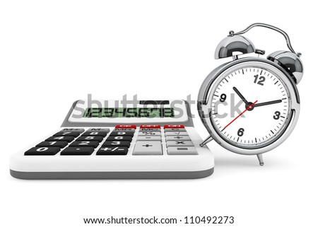 Time is Money Concept. Calculator and alarm clock on a white background