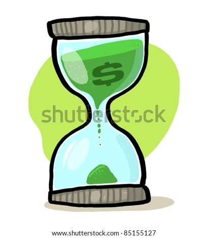 Time is money concept; Hourglass illustration