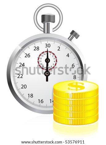 Time is money concept illustration on white background