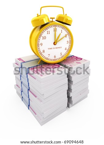 Time is money concept isolated on white. Alarm clock on stacks of euros