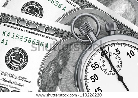 Time is money concept. One hundred dollars and Stopwatch on a white background
