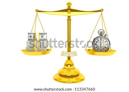 Time is Money concept. Scale, Money and StopWatch on a white background