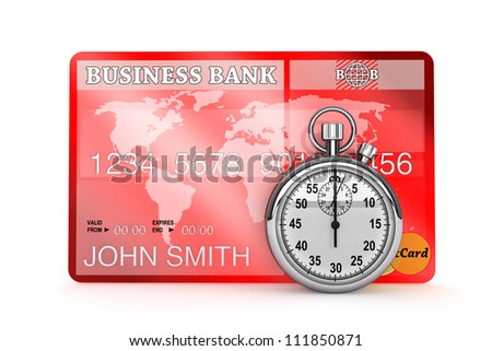 Time is Money concept. StopWatch with Credit Card on a white background