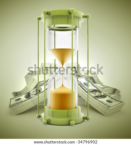 time is money concept with sand clock and dollars - 3d illustration - stock photo