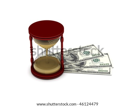Time is money. Hourglass on hundred-dollar bills isolated on white background. High quality 3d render.
