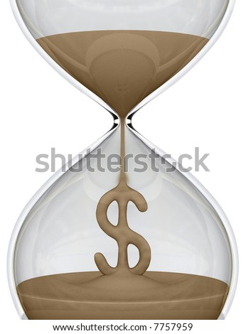 Time is Money (hourglass). The sand falls forming the dollar sign. Concept of business.