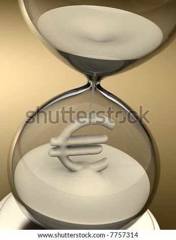 Time is Money (hourglass). The sand falls forming the euro sign. Concept of business.