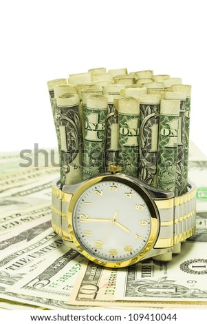 Time Is Money / One dollar bills in a watch band on money.