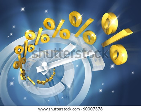 Time is money. Out of the clock in high-tech style fly gold symbols of percent. Illustration represents growth in incomes for different investment