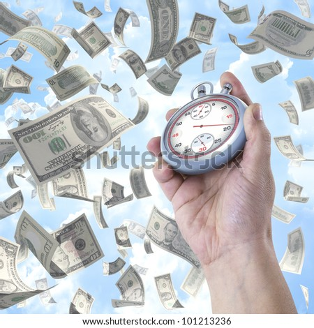Time is money. Stopwatch pointing the time to earn money.