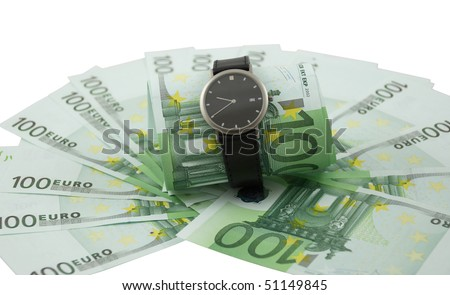 Time is money. Watch and one hundred euro banknotes isolated on a white.