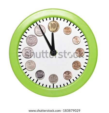 Time is money. Watch coins rubles on the dial