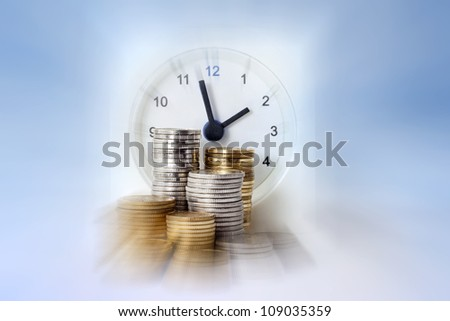 Time is money with coins and alarm clock