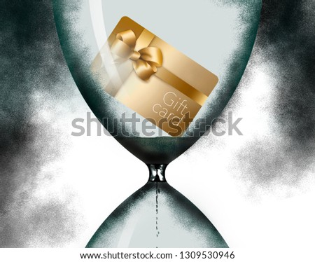 Time is running out. An hourglass is pictured in this image with a gift card inside to illustrate the limited time before the card expires. This is an illustration.