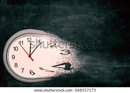 Time is running out concept shows clock that is dissolving away into little particles