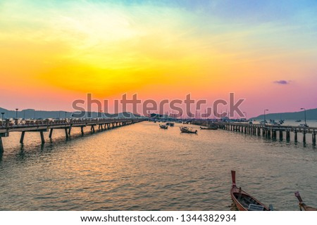 time lapse stunt sunrise Chalong pier. Chalong pier very important for travel business it is a center for all boat 