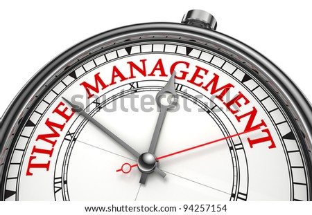 time management concept clock closeup isolated on white background with red and black words