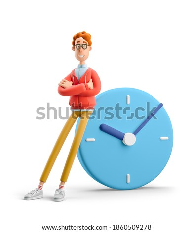 Time management concept. Nerd Larry with big clock. 3d illustration.