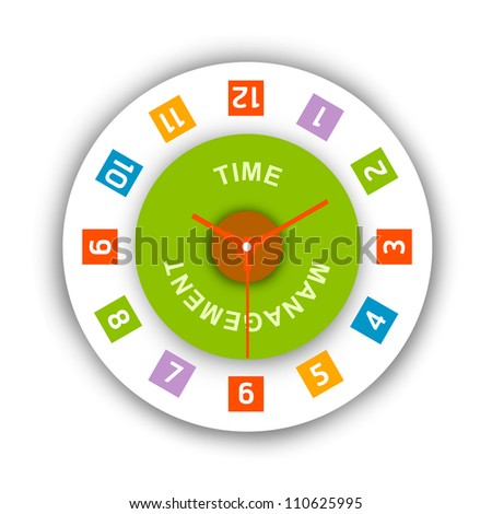 Time Management Concept, Present With The Clock and The Word Time Management Inside Isolated on White Background