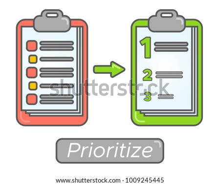 Time management goal priorities. Task priority plan concept design. Prioritize agenda.