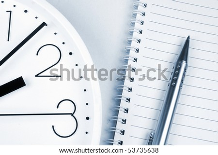 Time, notebook - stock photo
