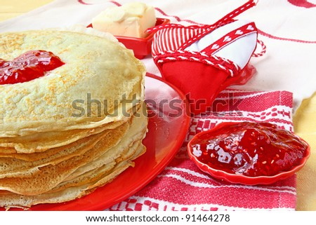 Time of shrovetide national traditional helping to the pancakes at the end of the winter