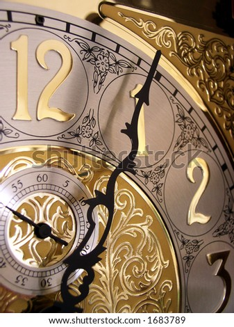 time on a grandfather clock - stock photo