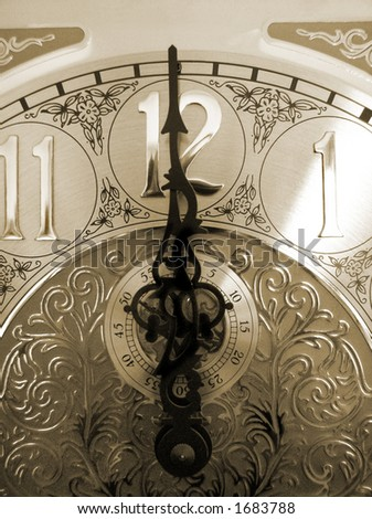 time on a grandfather clock, with an antique look