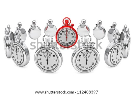 Time planning Concept. Red modern Stopwatch on a white background