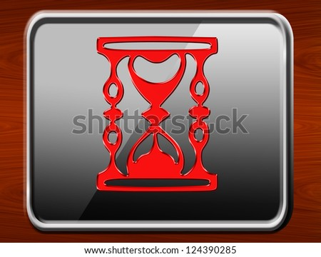 time red glossy icon on wood background