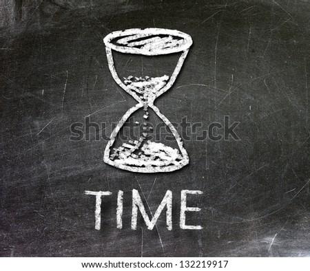 time symbol drawn with chalk on a blackboard