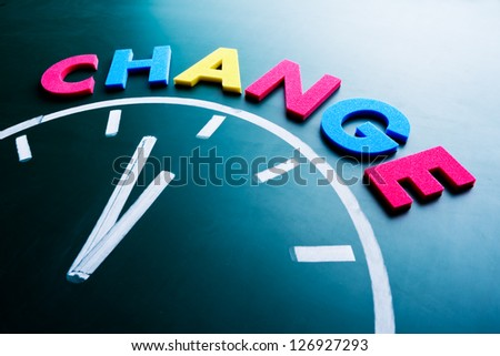 Time to change concept, color word and clock on blackboard #126927293