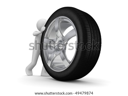 Time to change your tyres (3d isolated on white background characters series)