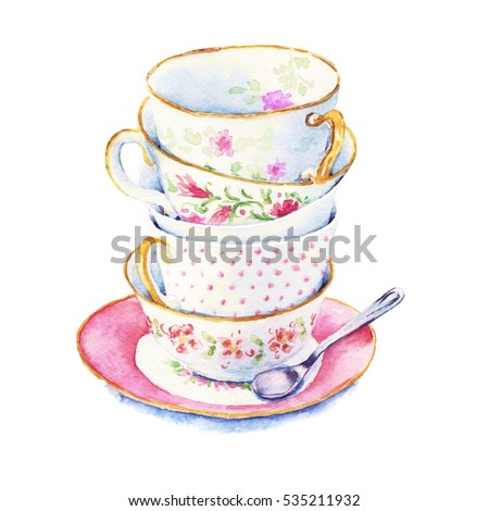 Time to drink tea. Bunch of tea cups in the on a saucer with spoon. Elements to design menu or cards. Watercolor illustrations in the style country isolated on white background closeup handmade.