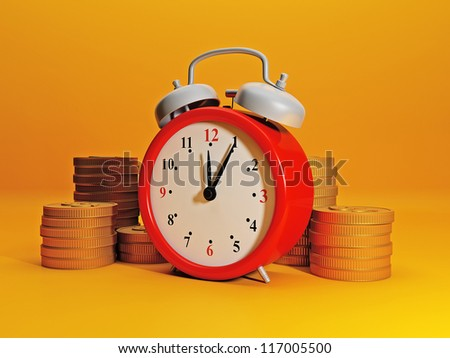 Time to earn money. Alarm clock symbolizes time and team gold. Efficient business, great income in a short time