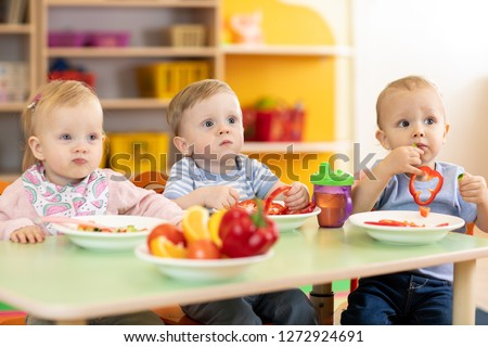 Time to eat in kindergarten or nursery or daycare