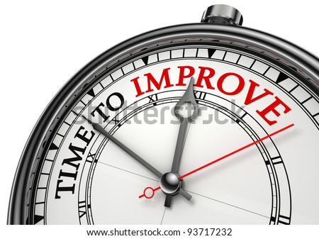 time to improve concept clock closeup isolated on white background with red and black words