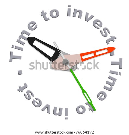Time to invest in a retirement plan in stock during market growth isolated clock indicating time for safe investment or adjust your schedule with time investment plan