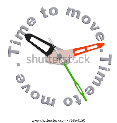 Time to move act now or move your things for relocation isolated clock with text urging for action