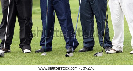 Time To Play Golf -four gentlement golfers - stock photo
