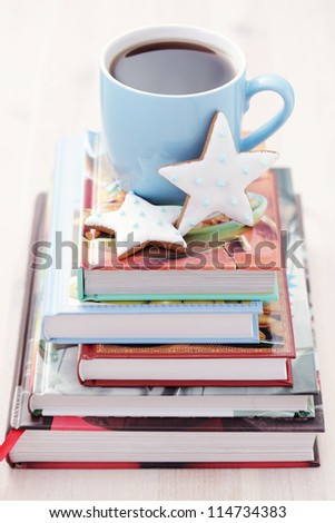 time to relax with cup of tea and books - tea time